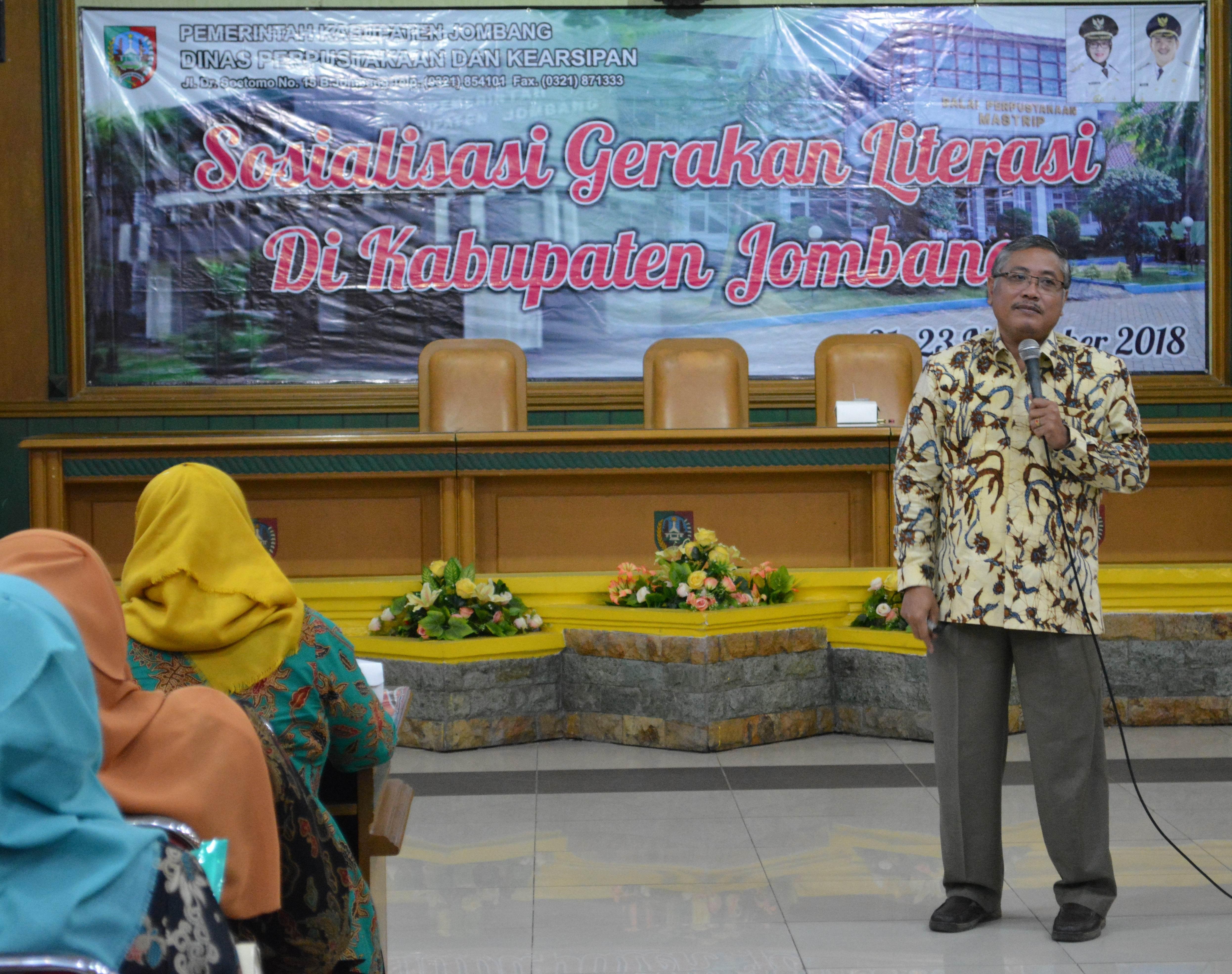 Sosialisasi Gerakan Literasi di Kabupaten Jombang tanggal 22 Nopember 2018